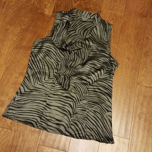Ann Taylor 100% silk zebra pattern sleeveless top